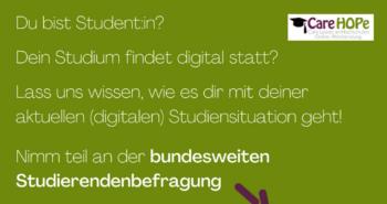 Einladung zu Stu.diCo 2; Du bist Student:in? Dein Studium findet digital statt? Lass uns wissen, wie es dir mit deiner aktuellen (digitalen) Studiensituation geht! Nimm teil an der bundesweiten Studierendenbefragung Stu.diCo 2